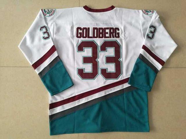274461d07 Stitched Greg Goldberg  33 Hockey Jersey 96 Charlie Conway Mighty Ducks  Movie Jersey Green White
