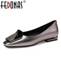 FEDONAS 2018 New Fashion Women Genuine Leather Shoes Square Toe Thin High Heels Luxury Shoes Woman
