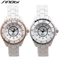 SINOBI White Watches Women Imitated Ceramic Band Couples Watch Fashion Reloj Mujer 2016 Water Resistant Erkek Kol Saati