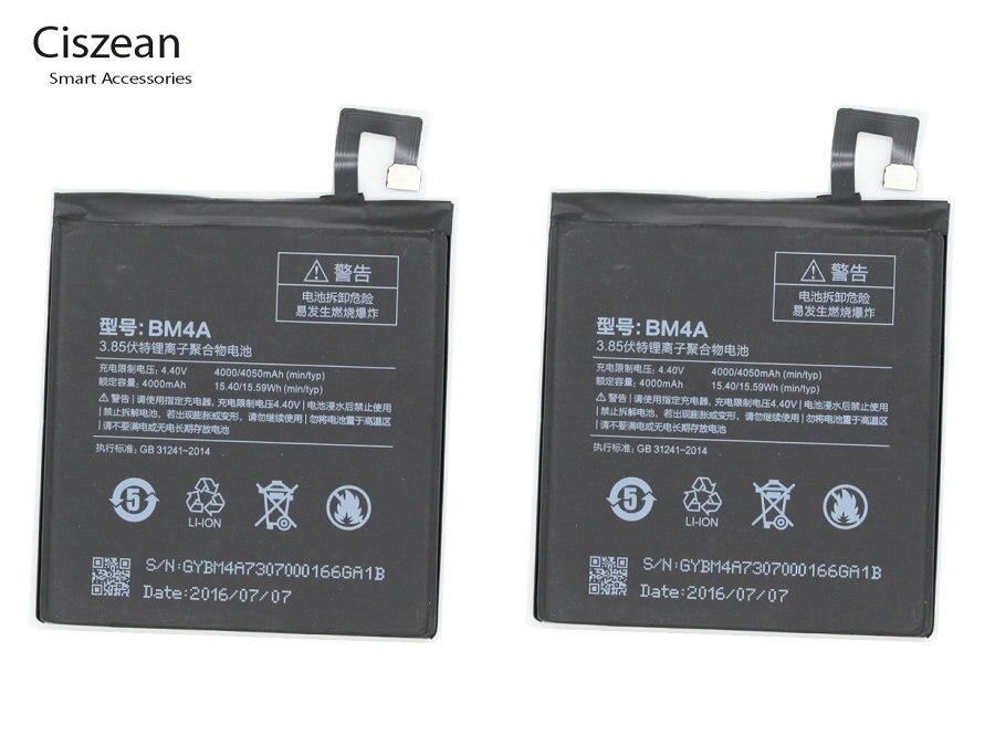 Ciszean Replacement-Battery Batterie Accumulator BM4A Xiaomi Redmi 4000mah For Pro 2PCS