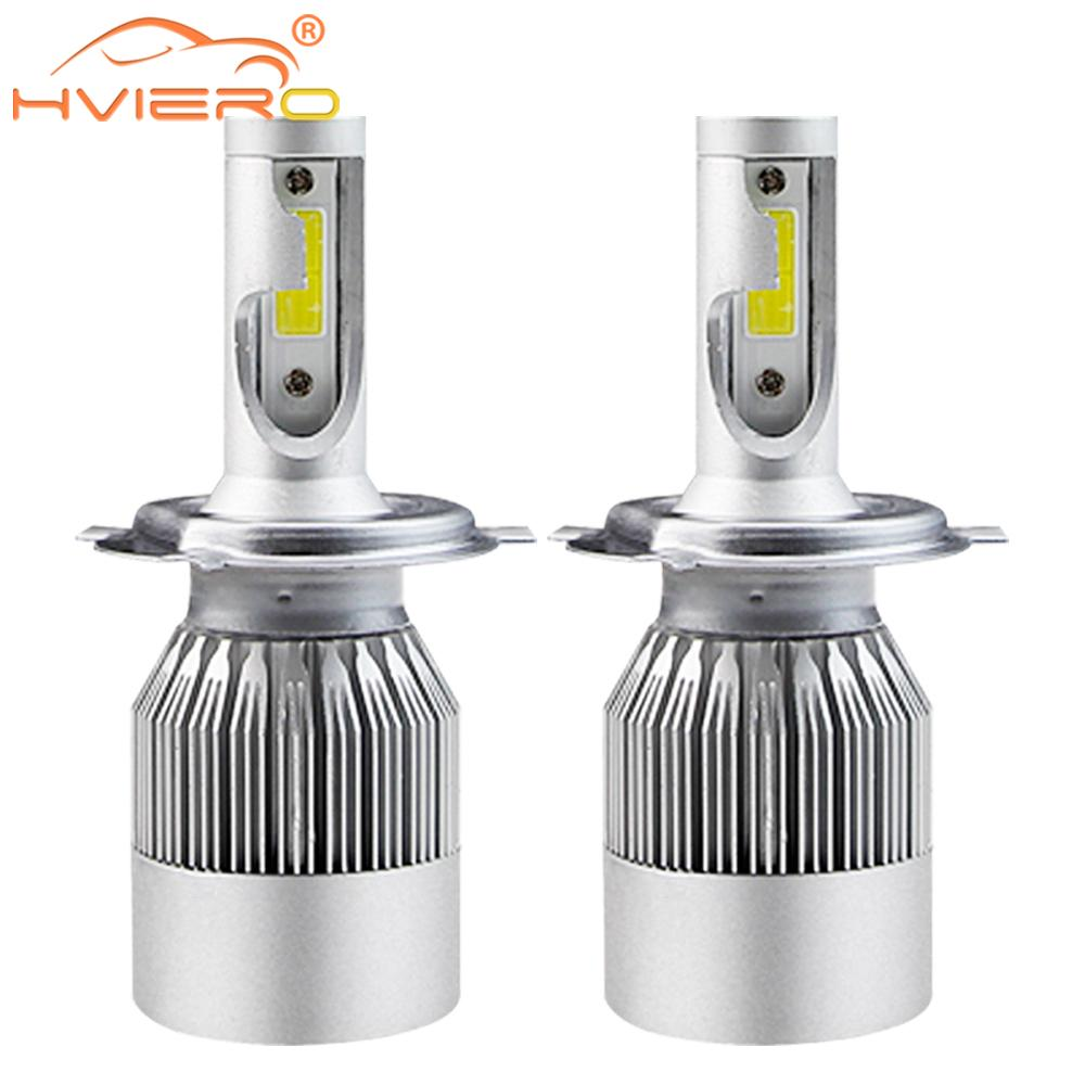 2X Cob Car Headlight Fog Light C6 H1 H3 H4 H7 H11 HB3/9005 HB4/9006 Car Led 72W 7600lm Auto Front Bulb Automobile Headlamp