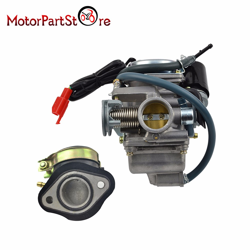 US $29 83 10% OFF|New 24mm Carburetor & Intake Manifold for HOWHIT GY6  150cc 150 Scooter Go Kart Motorcycle Accessories D10-in Carburetor from