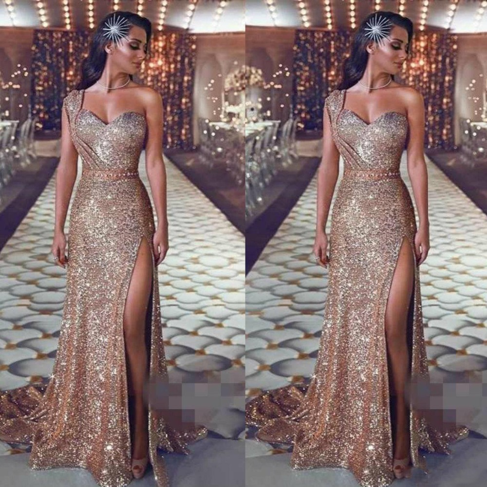 Detail Feedback Questions about Gold Sequined Prom Gowns Dubai Arabic One  Shoulder Sweep Train Robe de soiree Sexy High Split Evening Party Dress  Custom ... 8c48e9c4b33e