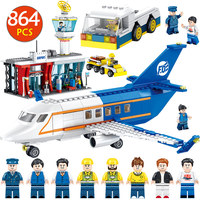 Airport Passenger City Technik Series Bricks Compatible Legoingly City Airliner Terminal Car Building Blocks Toys Boys 864pcs