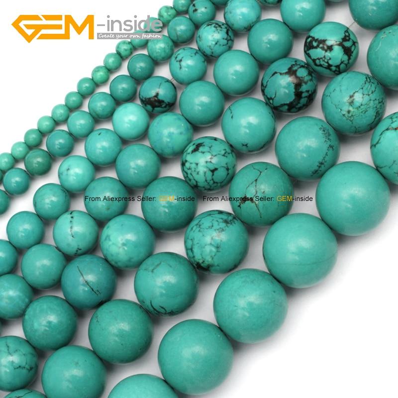 Gem-μέσα 4-15 χιλιοστά στρογγυλό Stone χάντρες βαμμένα χρώμα Μπλε Τυρκουάζ χάντρες για Κοσμήματα Κάνοντας χάντρες 15 '' DIY Κοσμήματα Κοσμήματα