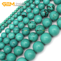 Natural Round Blue Turquoise Beads For Jewelry Making 4-15mm 15inches DIY Jewellery Free Shipping Wholesale Gem-inside