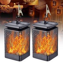 2Pcs Flame LED Solar Lights Outdoor Hanging Lantern Garden Yard Decorative Lamp hot