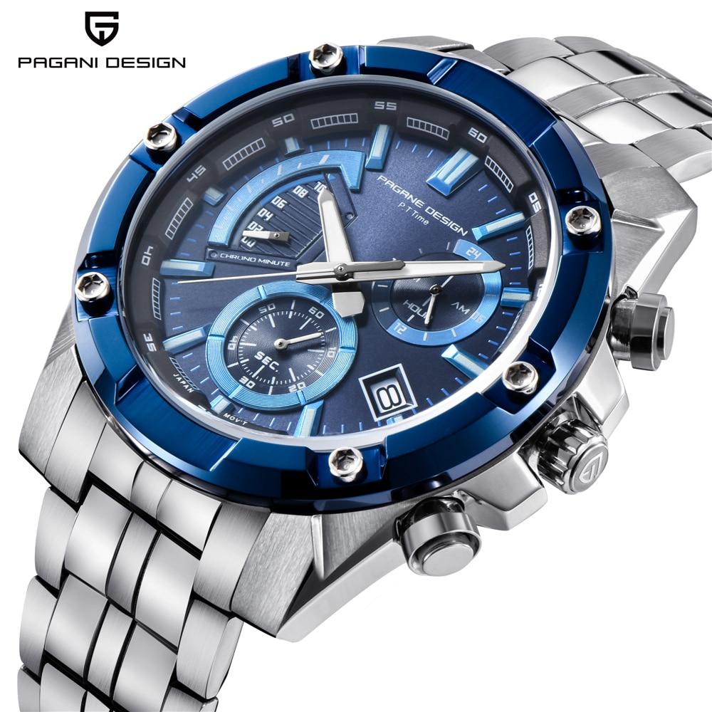 PAGANI DESIGN Chronograph Quartz Watch Men Stainless Steel Waterproof Business Wristwatches Mens Sport Watches reloj hombre 2018 цена