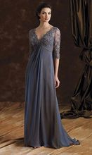 Dark Grey Plus Size Mother of the Bride Dresses V Neck Lace Chiffon Vestido De Madrinha Appliques 2015 Groom Evening Gowns