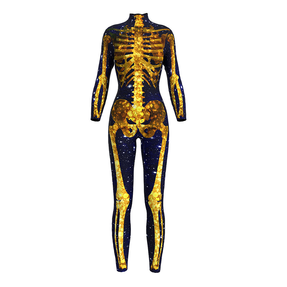 Sexy Cosplay Skeletal ghost terror print 3D Print Women Jumpsuit Tights Adult Costumes Halloween Carnival Zentai Bodysuit  Set