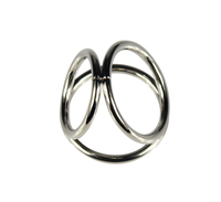 1PCS Men Metal Penis Delay Cock Ring Triple Stainless Steel Cock Ball Stretcher