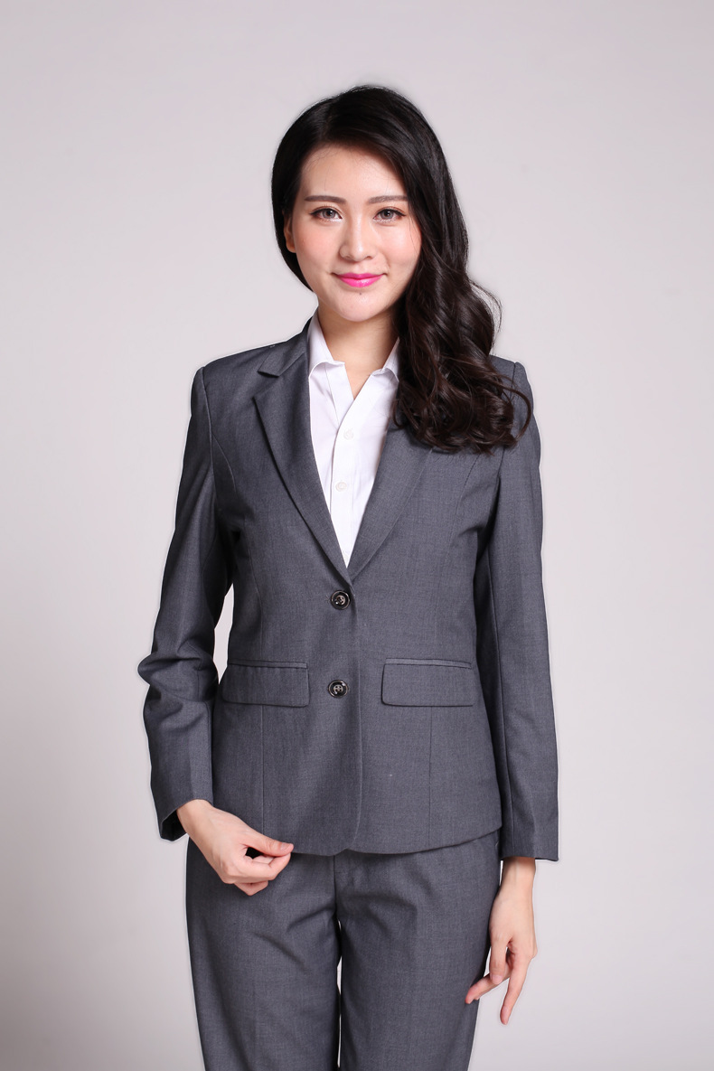 Plus Size S 3xl Dark Gray Women Pants Suits Slim Work Wear