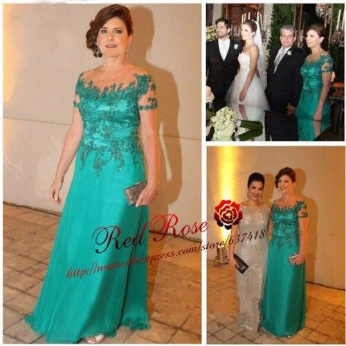 Зеленые платья с короткими рукавами для матери невесты с кружевом Иллюзия Аппликации шеи Vestido de Festa Longo Madrinha