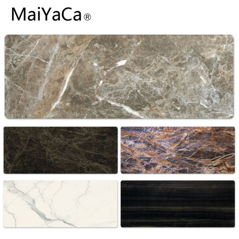 MaiYaCa Top Quality Brown Marble Laptop Computer Lockedge Mousepad Size for 30x90cm 40x90cm Rubber Rectangle Mousemats