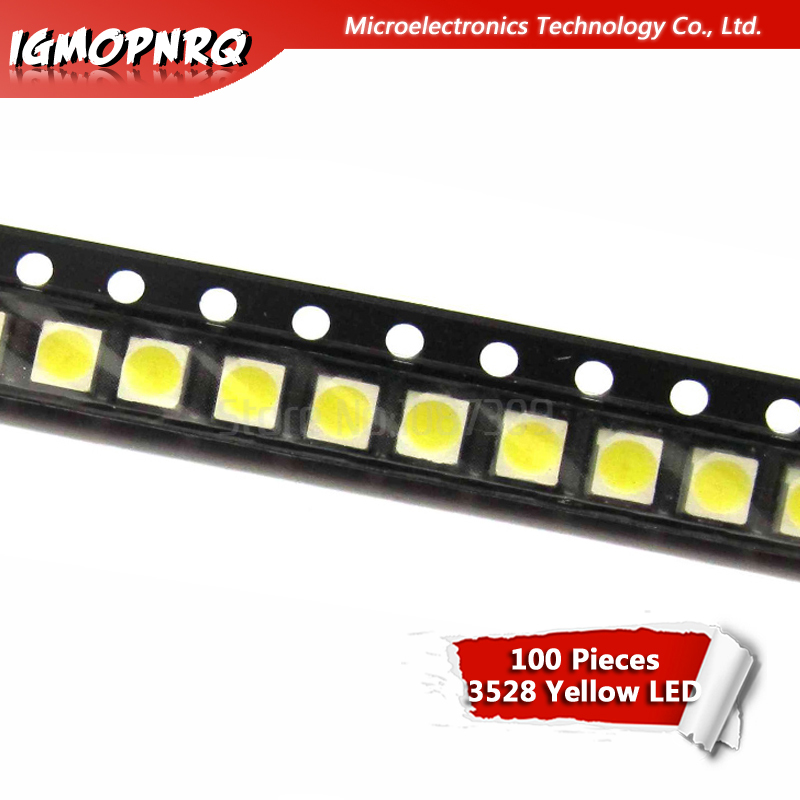 100pcs Yellow 3528 1210 SMD LED Diodes Light