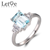 Leige Jewelry Natural Sky Blue Aquamarine Rings Promise Rings Emerald Cut Rings March Birthstone Rings Solid