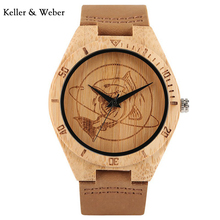 KW 2018 Creative Cool Shark Wooden Bamboo Wrist Watch Natural Quartz Novel with Leather Strap Watch for Men Wholesale Gifts