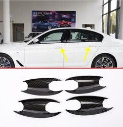 Z włókna węglowego samochodów ABS Chrome klamka zewnętrzna pokrywa misy wykończenia 4 sztuk dla BMW nowy 5 serii G30 2017 2018