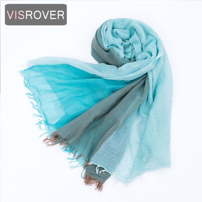 Buono Visrover Unisex 100% Cotone Grande Sciarpa Del Hijab Tre Colori Si Combinano Uomo E Donna Spiaggia Sciarpe Di Marca Di Lusso Dei Capelli Bandana Patchwork