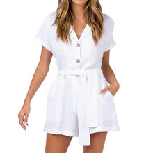 Womail plus size jumpsuits with pockets Solid White V-Neck Short Sleeve Buttons Bandage Cotton And Linen Jumpsuits overol mujer(China)