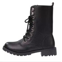 2016 botas mujerแฟชั่นผู้หญิงพังก์รองเท้าแพลตฟอร์มผู้หญิงรองเท้าหนังที่มีคุณภาพสูงรองเท้ามาร์ตินมีขนาดใหญ่35-42 S42