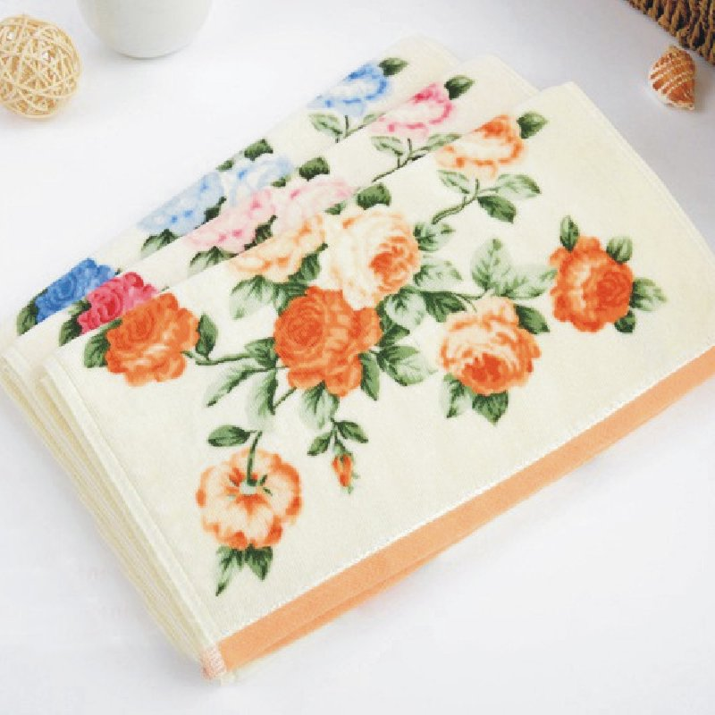 1pce 32 72cm Printed Flower Cotton Terry Hand Towels