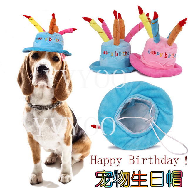 Caps For Dogs Pet Cat Dog Birthday Hat With Cake Candles Design Party Costume