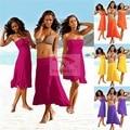 Mulheres Verão vestido de sol playa vestido bra peito envolto vestidos de Praia Pareos método desgaste desgaste variedade plazove obleceni vertente jurk
