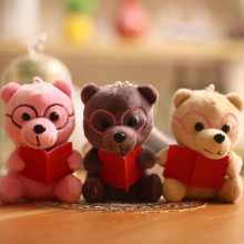 mini 12cm ,  lovely bear plush toy New cute cartoon keychain stuffed doll key chains bag Pendant kid girls gift