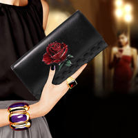 Woman Vintage Embossing Red Rose Genuine Leather Clutch Wallet Lady Long Purse Card Holder Hasp Money Coin Bag Female Wristlets