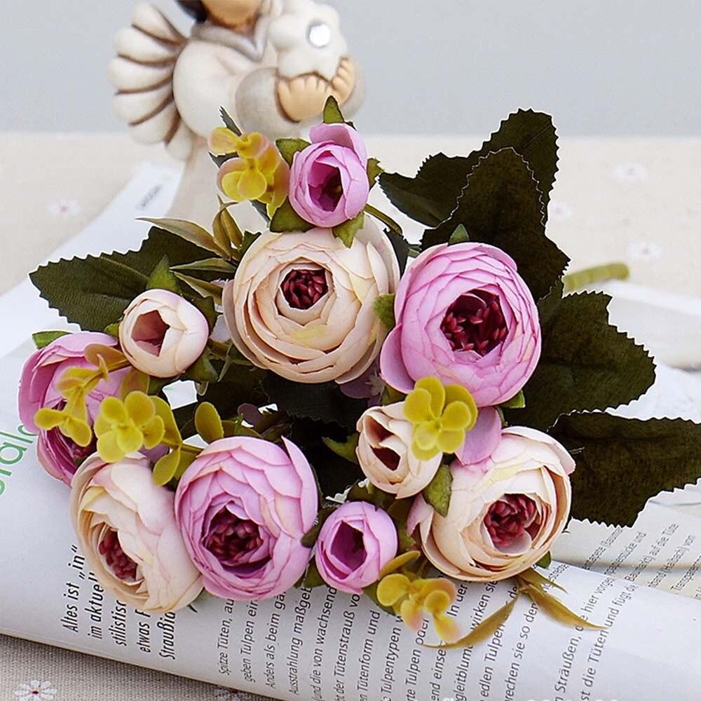 10 голов/1 Набор шелковых чайных роз, букет невесты для рождества, дома, свадьбы, Нового года, украшения, искусственные цветы