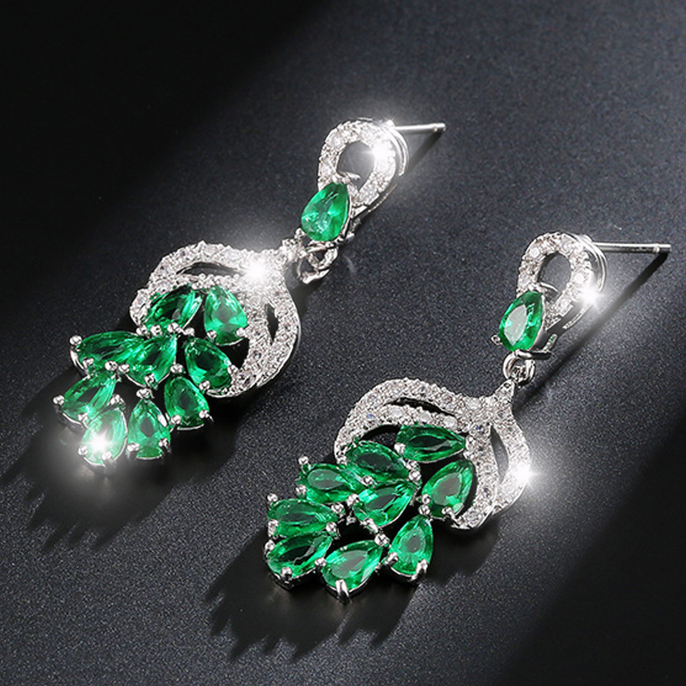 4 Color Zircons Dangle Earrings Luxury Long CZ Crystal Big Drop Earrings For Brides Elegent Evening Dinner Part Wedding Jewelry
