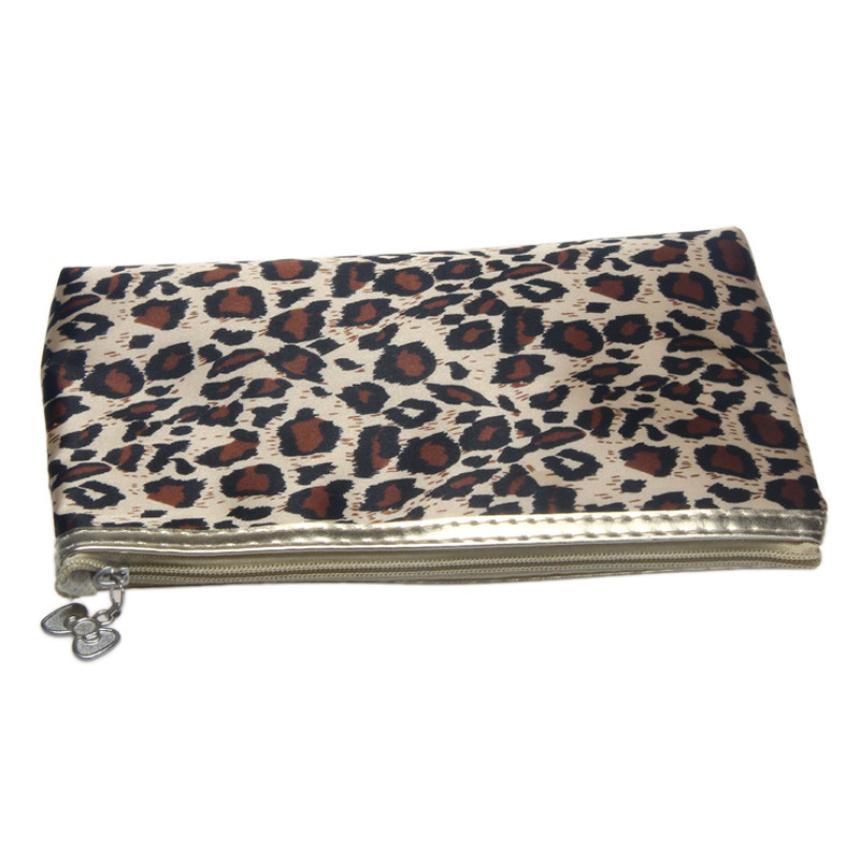HOT New Arrival 11.5*19cm/4.53*7.48(H x W) Leopard Zebra Color Polyeste Material 1PC Portable Storage Makeup Bag