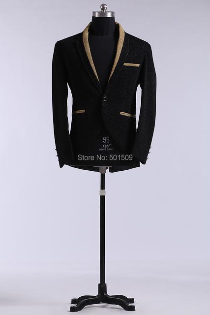Glitter negro para hombre collar de la chaqueta de esmoquin / stage performance, sólo la chaqueta