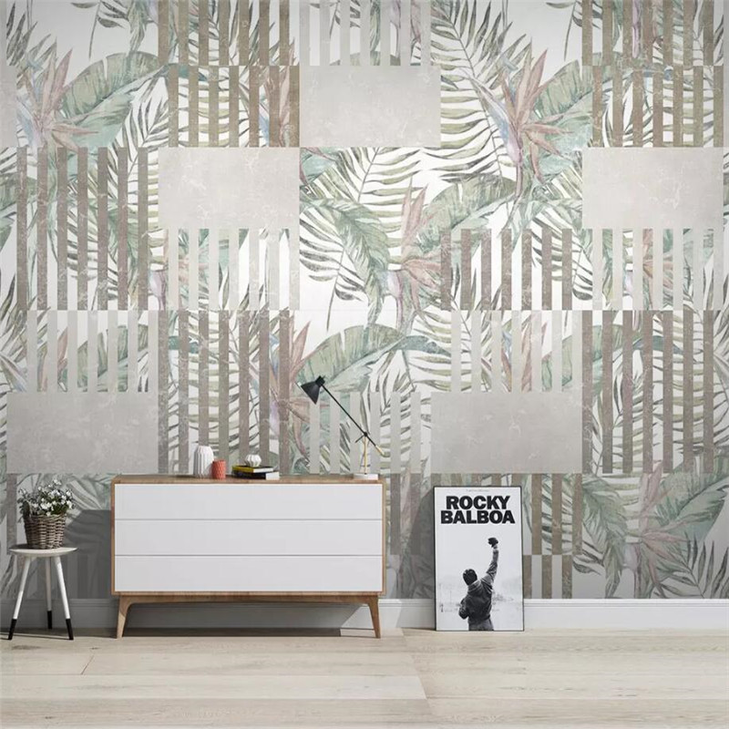 Tropical plants geometric lines TV background wall professional production mural wallpaper wholesale custom poster photo