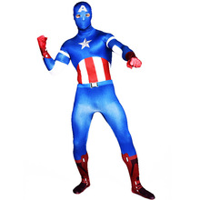 Captain America Costume  Zentai Unisex Women Halloween cosplay Full Body Lycra Catsuit Men