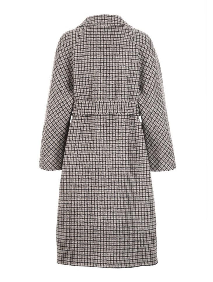 Vero Moda Women's 19 new double-sided 100% wool long plaid woolen overcoat | 318427508 20