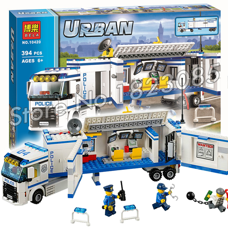 392016 BELA 10420 City Police Mobile Unit building Kit blocks Minifigures Model Boys Girls Toys Compatible with Lego