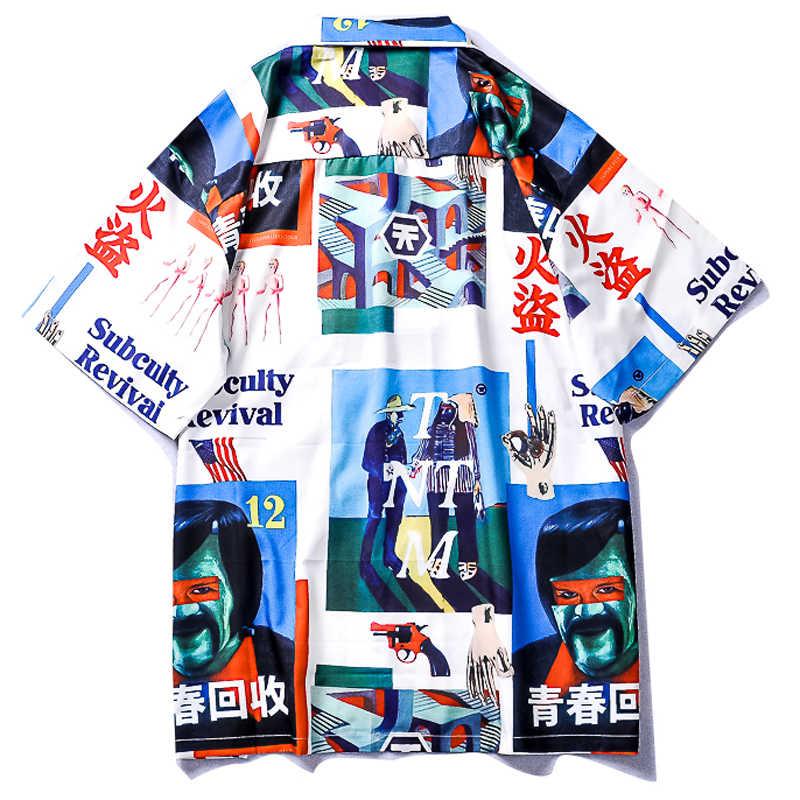OSCN7 プリントシャツ男性ストリート半袖 2019 夏のファッションビーチメンズシャツゆるいカジュアルな韓国シュミーズオム 661