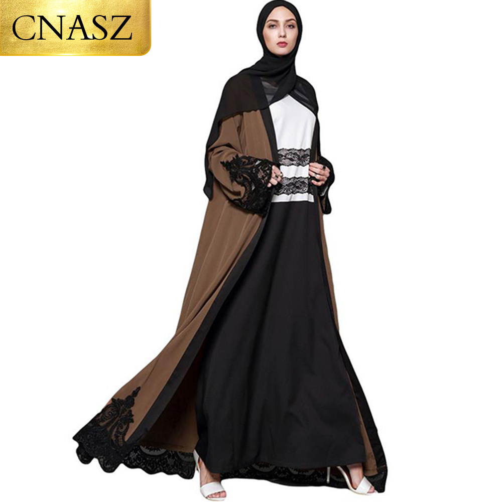 Muslim Casual Dress Lace Embroidery Robe Muslim Dubai Abaya Kimono Arab Ramadan Kaftan For Women Djellaba Islamic Clothing