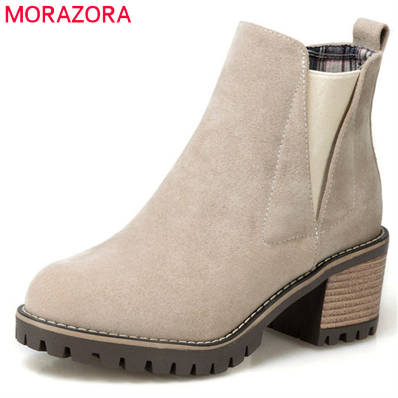 MORAZORA High heels shoes woman PU nubuck leather platform boots solid in autumn ankle boots female fashion big size 34-34