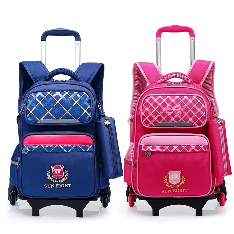 64cdec2eca52 Unsix малыш чемодан школьный рюкзак тележка сумка на колесах 6 колёса  водостойкие школьные ранцы модная детская
