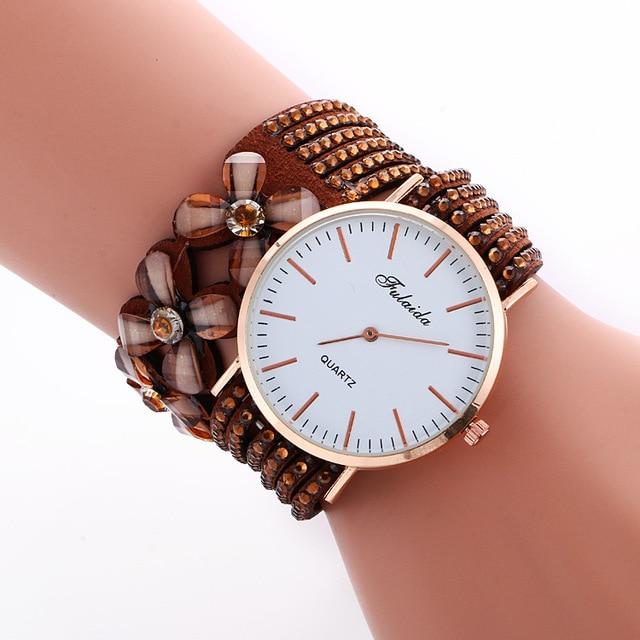 Hot Sale Brand Luxury Fashion Leather Bracelet Watch Ladies Quartz Watch Casual