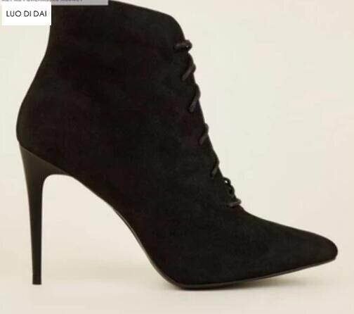 Punkt Schwarz Neue Booties As Schuhe as Spitze Pic Ankle Grundlegende Frauen Arbeits Stiefel Wildleder Pic Partei Herbst Up 2019 Damen Kappe vxw1qdF71