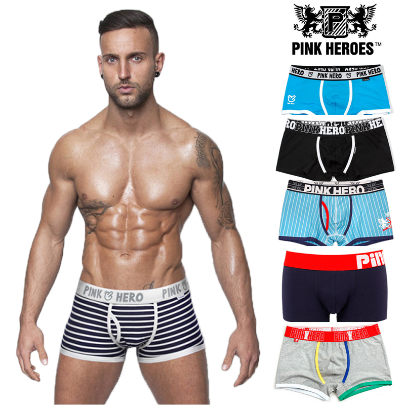 Pink Hero Brand Men's Underwear Cotton Cueca Man Striped Patchwork Panties Shorts Men Boxer Underpants Classical 6 Types 904