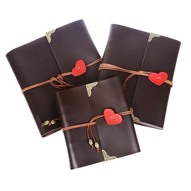 PU Leather photo album leather Hot heart shape diy handmade gift album Pasting Types wedding photo album