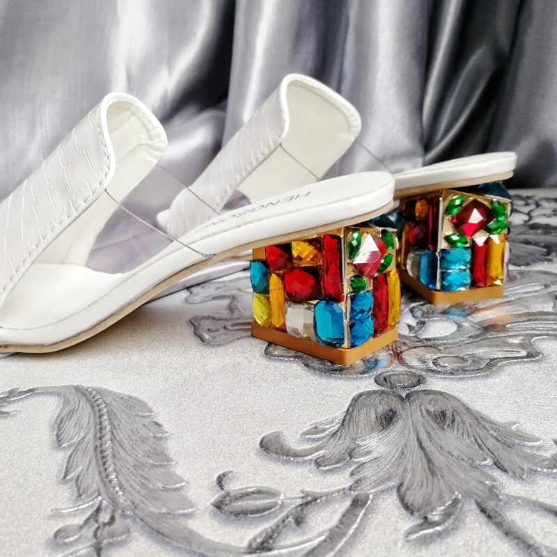 Kemekiss 2019 Merk Grote Maten 34-41 Kleurrijke Rhinestone Kristallen Hakken Peep Toe Zomer Damesschoenen Vrouw Sandalen Slippers