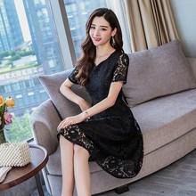 Plus Size Hot Sale 2019 Women Summer Short Sleeve A Line Lace Midi Dress Korean Fashion Elegant Office Lady Slim 5XL