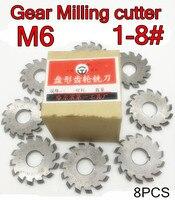 M6 Modulus PA20 graden NO.1-NO.8 8 stks/set HSS Versnelling frees Gear snijgereedschap Gratis verzending