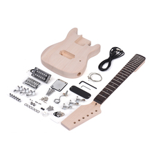 Muslady Children ST Style Unfinished Electric Guitar DIY Kit Basswood Body Maple Wood Neck Rosewood Fingerboard
